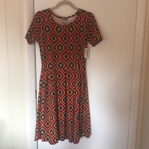 Geometric print LuLaRoe Amelia dress.